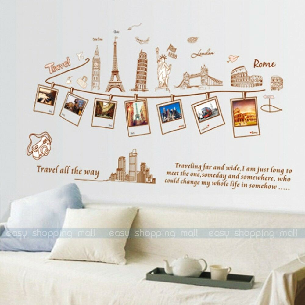 Diy removable pvc art quote photo wall sticker decal mural for Diy photo wall mural