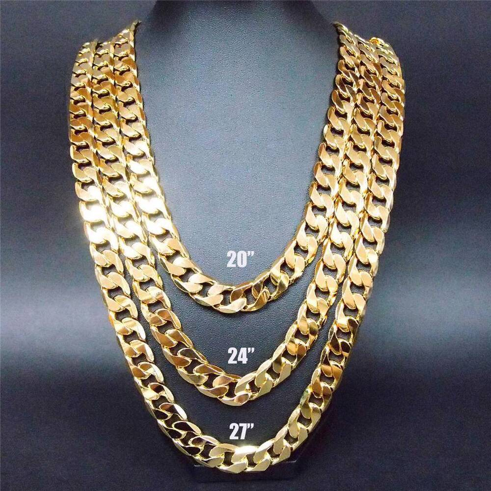 24 Quot 27 Quot 30 Quot 12mm 24k Yellow Gold Filled Chain Link Necklace