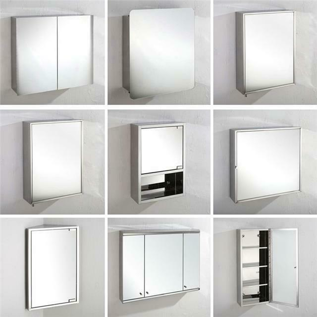 Stainless Steel Bathroom Mirror Cabinet Corner And Wall Mounted Single Double Ebay