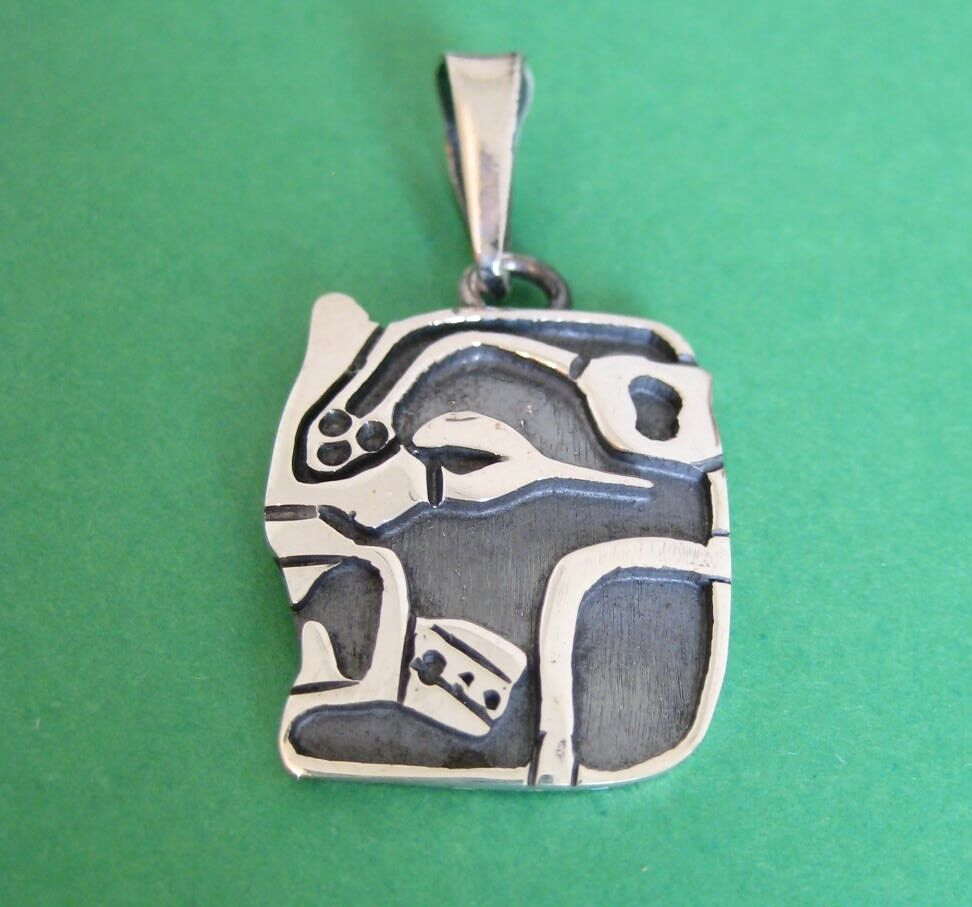 Taxco hand crafted mayan zodiac calendar months large pendant ebay