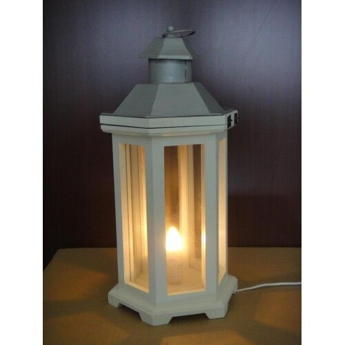 White Silver Lantern Light Home Garden Indoor Out Table Decor Plug Lamp 13116 Ebay