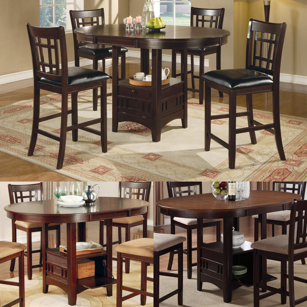Cappuccino dark cherry storage counter height leaf pub for Tall dinner table set