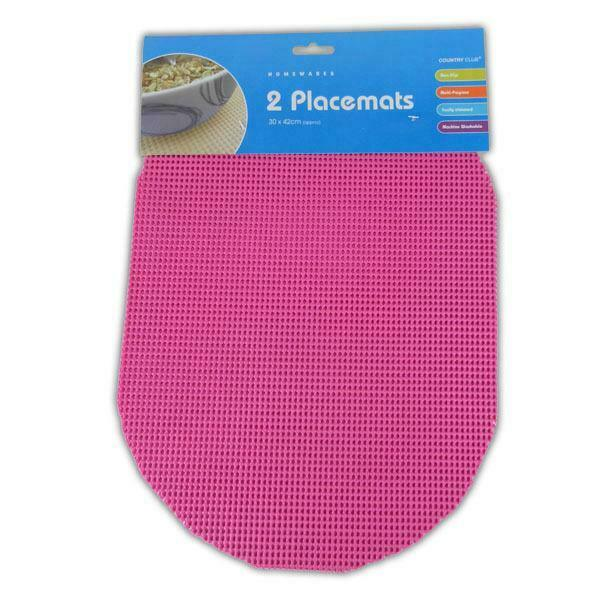 2pc Coloured Place Mats Clean Mat Non Slip Room Table