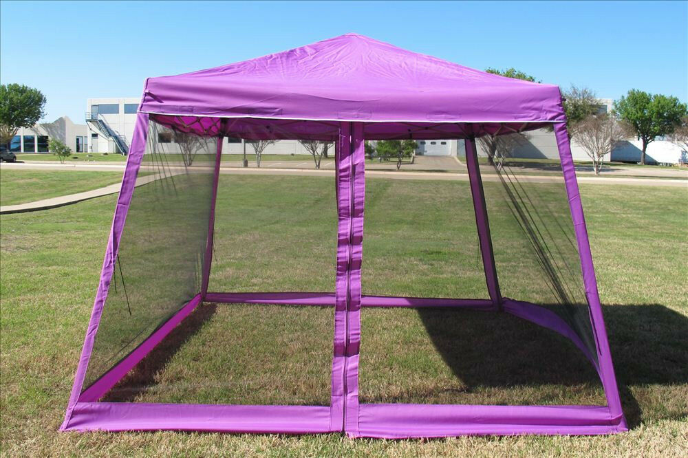 X8 10 x10 pop up canopy party tent gazebo ez w net purple ebay