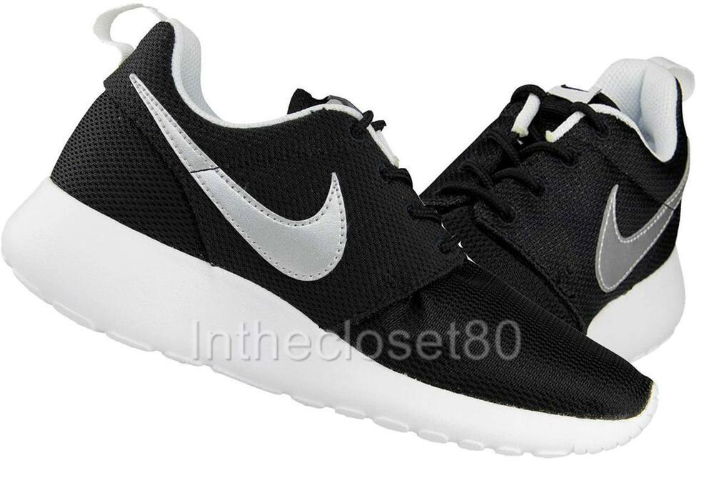 nike roshe run youth gs schoenen black/silver/white