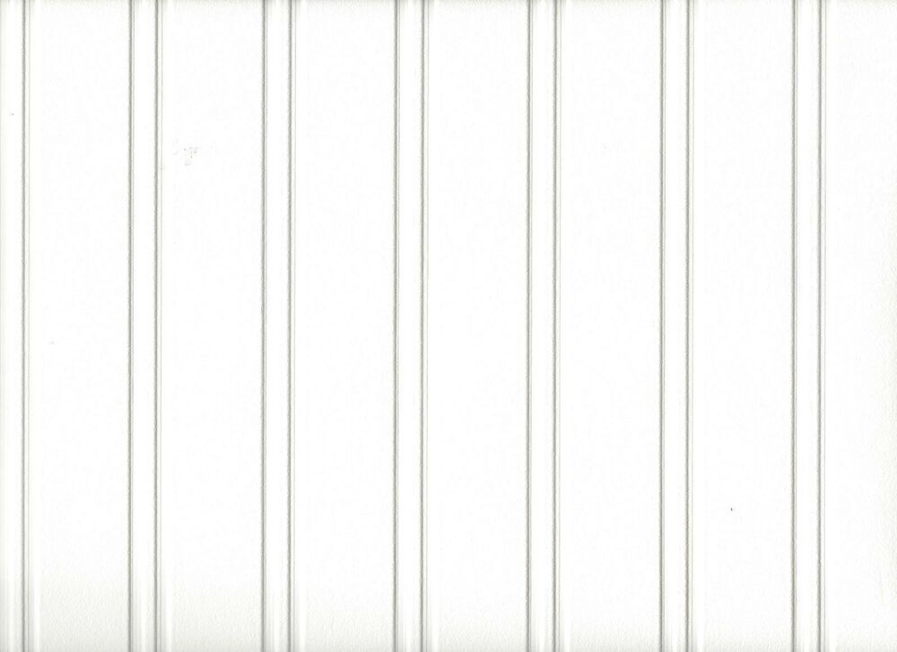 White Paintable Beadboard Textured Prepasted Wallpaper 497