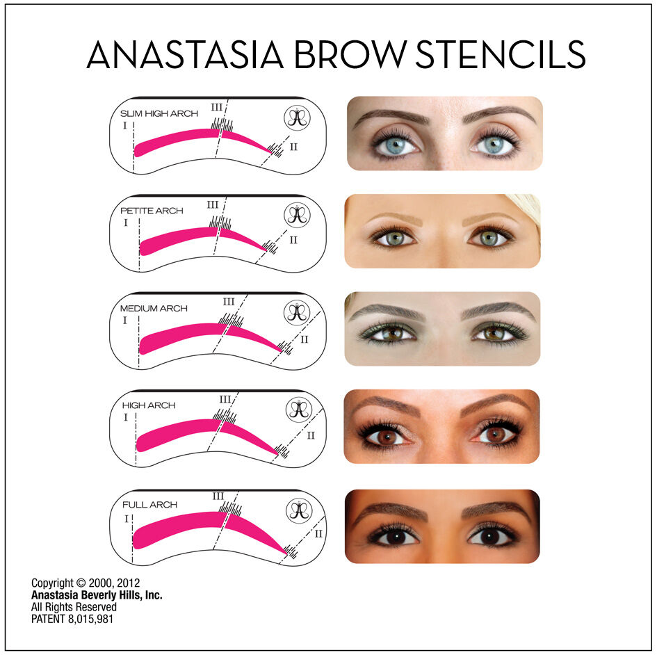 eyebrow templates printable - new 5 piece eyebrow stencil kit by anastasia beverly hills