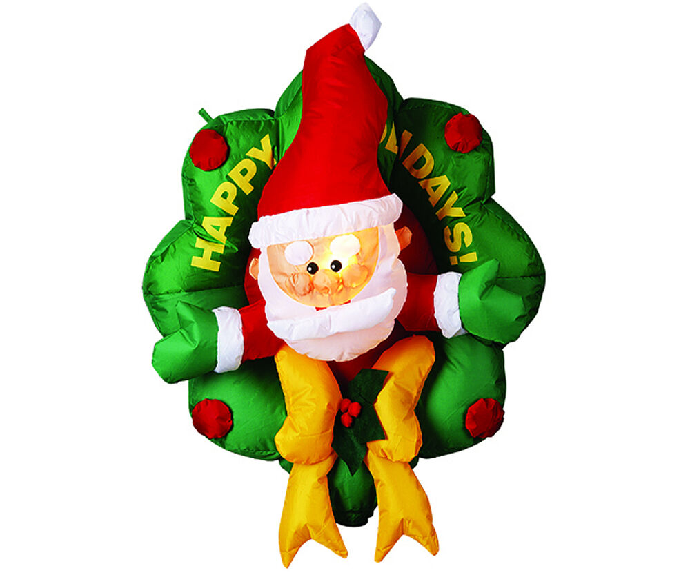Inflatable wreath santa christmas lawn yard decoration for Holiday lawn decorations