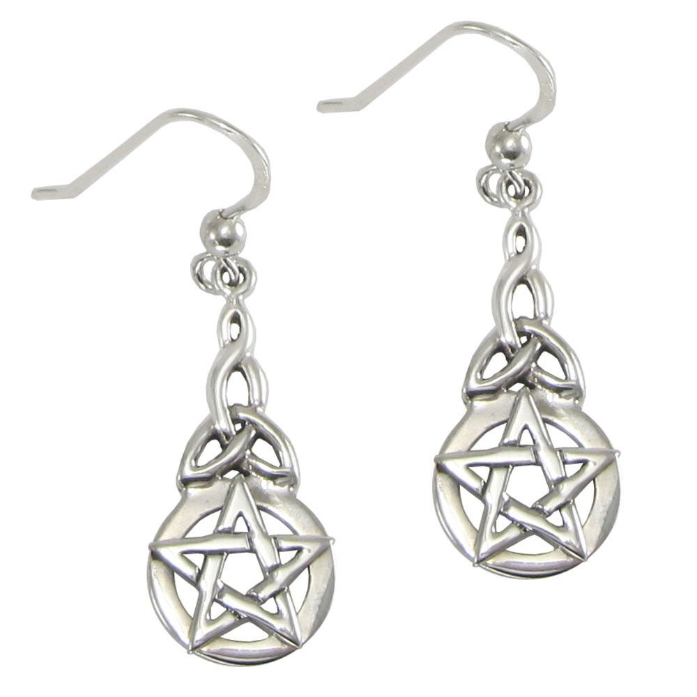 celtic knotwork earrings sterling silver pentacle triquetra celtic knot pentagram 8057