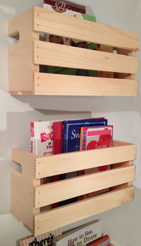 2 Med Crate Style Book Shelves Shelf Kids Rustic Crates