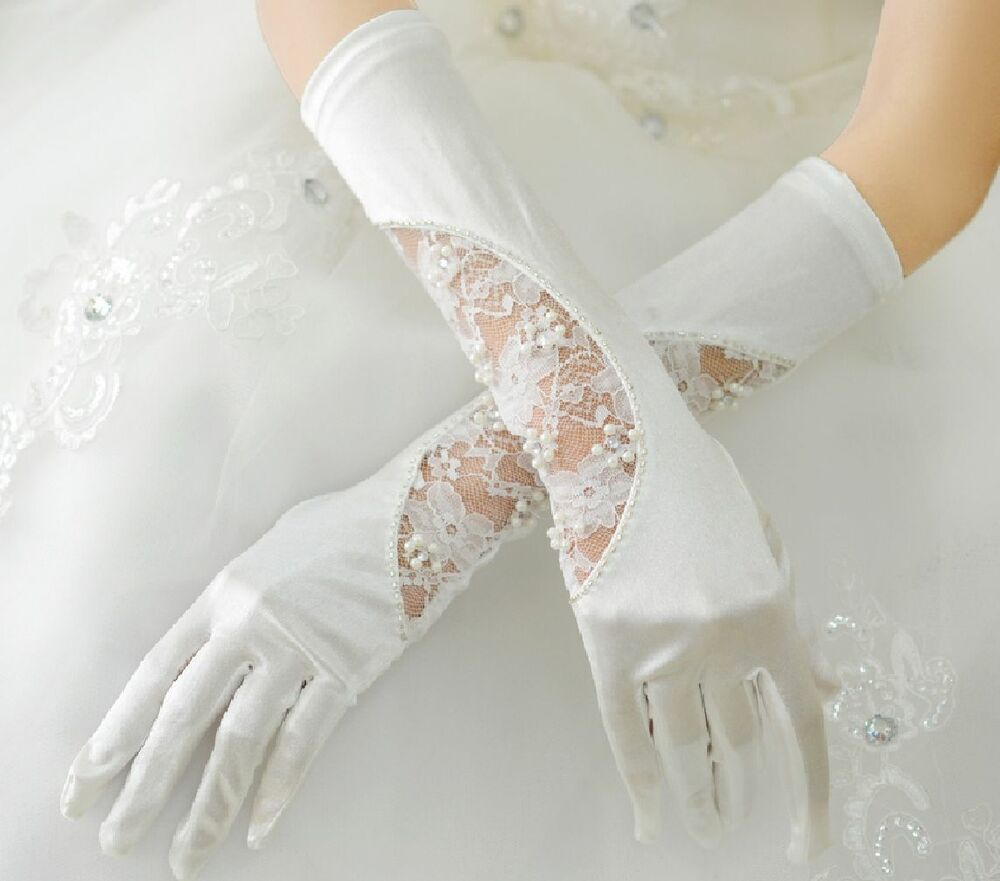 Elegant faux pearl off white lace wedding brides satin for Wedding dress with long gloves