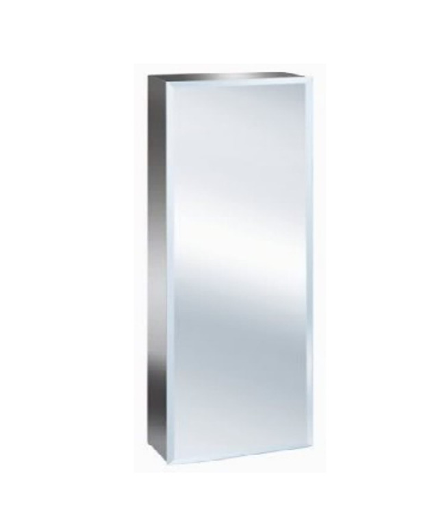 mirrored tall bathroom cabinet luxury stainless steel bevelled edge reversible 900 23413