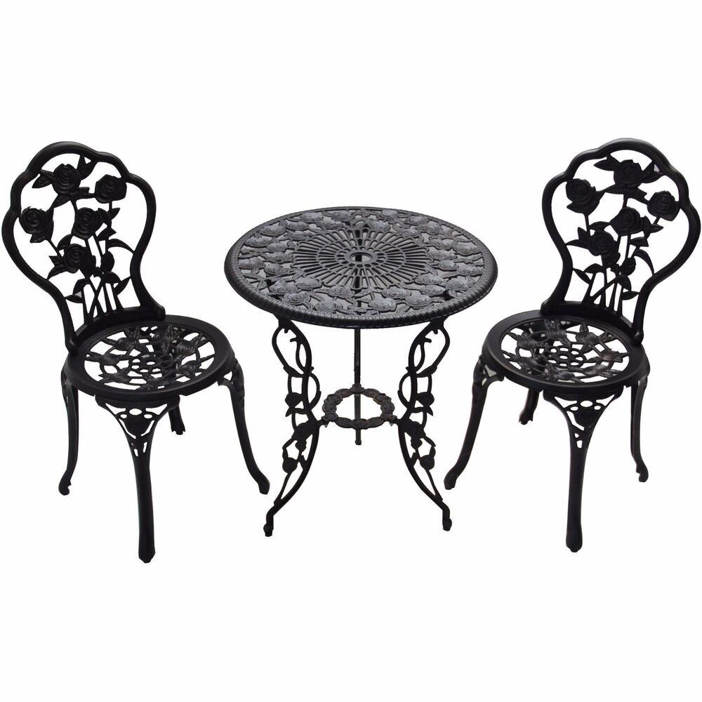 Outdoor Iron Table And Chair Set: Oakland Outdoor Chairs & Table 3pcs Cast Iron Bistro Set