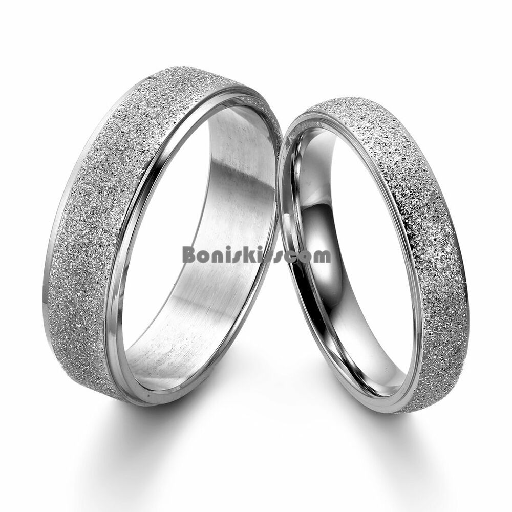 Frosted Center Stainless Steel Dome Engagement Ring Mens Womens Wedding Band