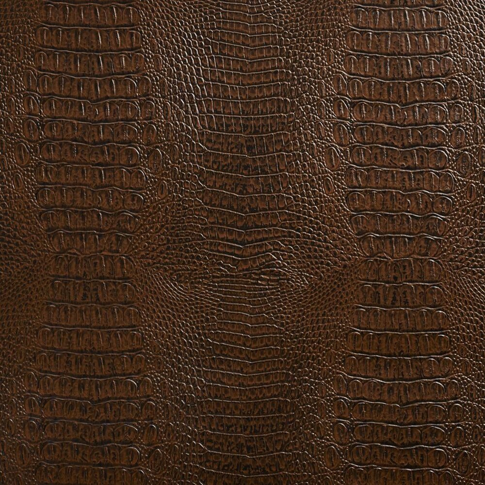 G033 brown crocodile faux leather upholstery vinyl by the for Fake leather upholstery