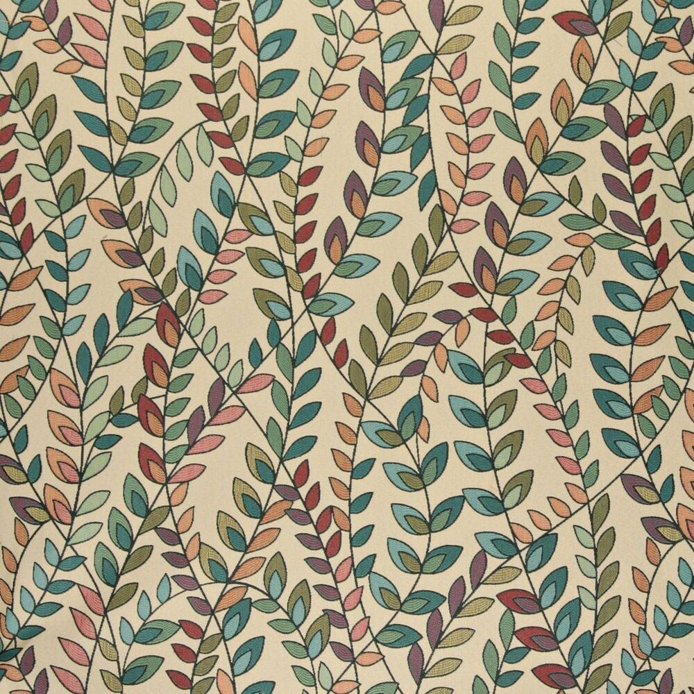 A0027c teal green orange purple vines leaves contemporary for Outdoor fabric by the yard