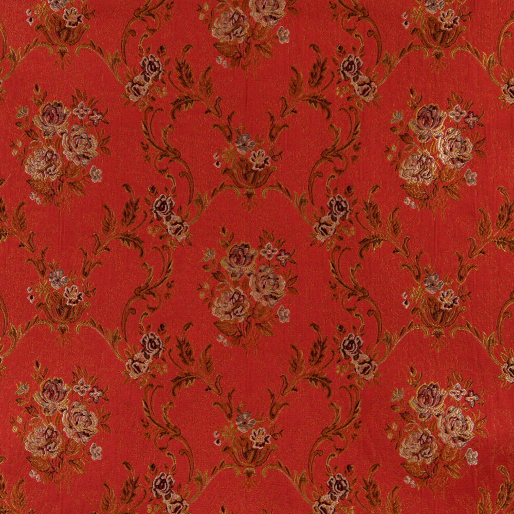 A0014g red brown gold ivory floral brocade upholstery for Upholstery fabric