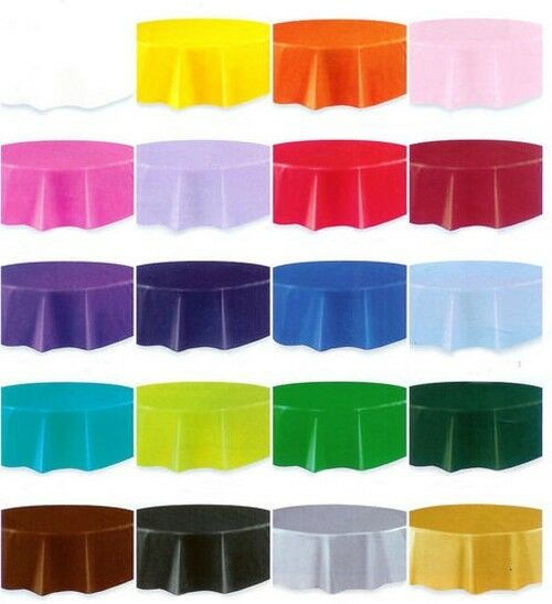 Round Table Covers Plastic Tablecloths Wedding Baby Shower