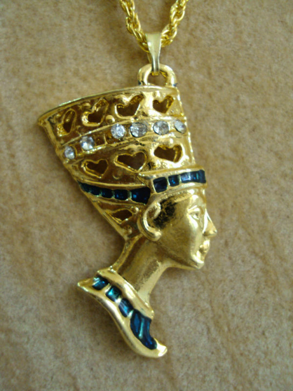 Nefertiti Hand Painted Pharaoh Costume Necklace Pendant