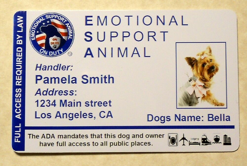Esa Emotional Support Animal Id Card Therapy Dog Id Badge Service