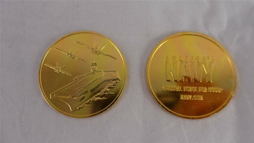 New Lot Of 2 Metal Military America S Navy Coins Navy Com