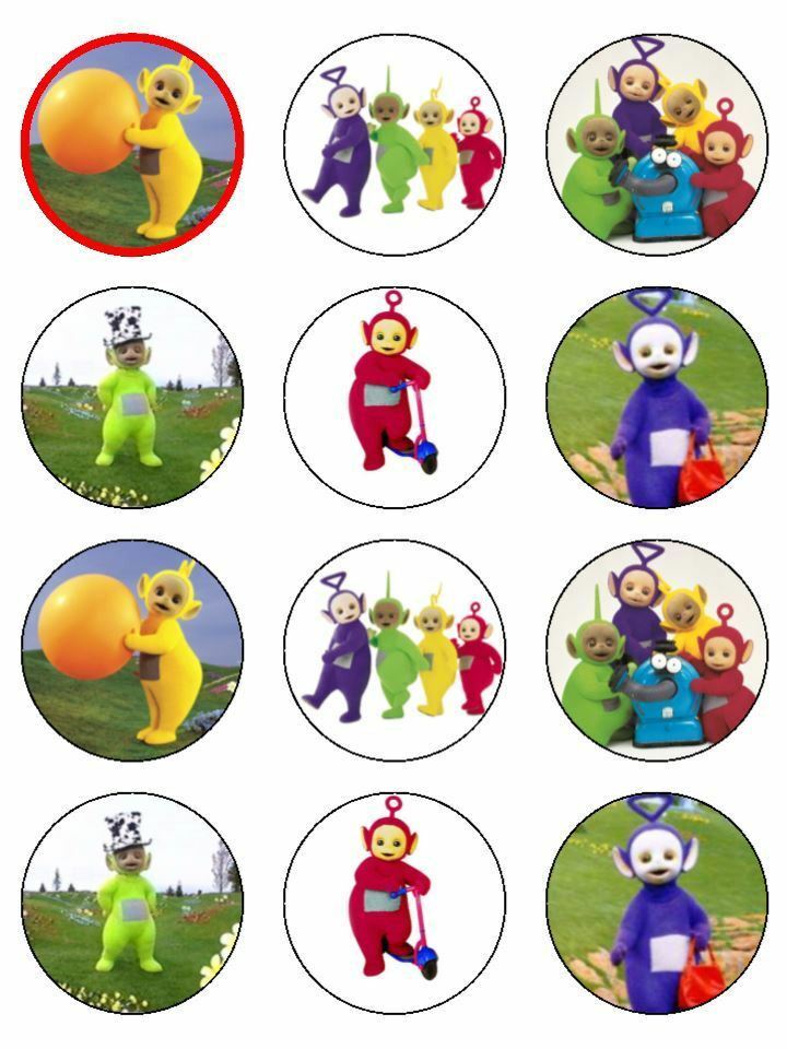 """15 x 2"""" TELETUBBIES PRE CUT ICING Cup Cake Toppers ..."""