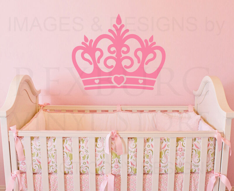 Baby Crown Wall Decor : Princess crown large girl room baby nursery wall decal