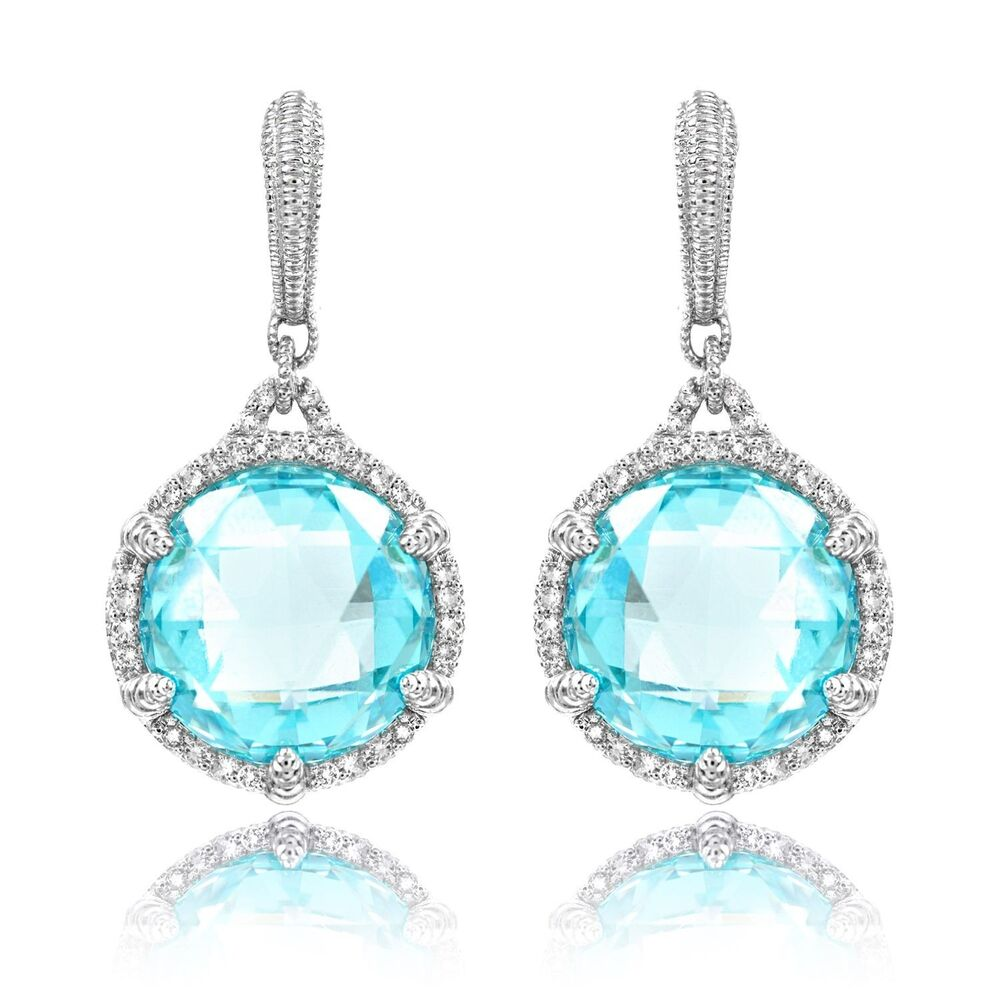 New Judith Ripka Round Sky Blue Crystal Earrings With