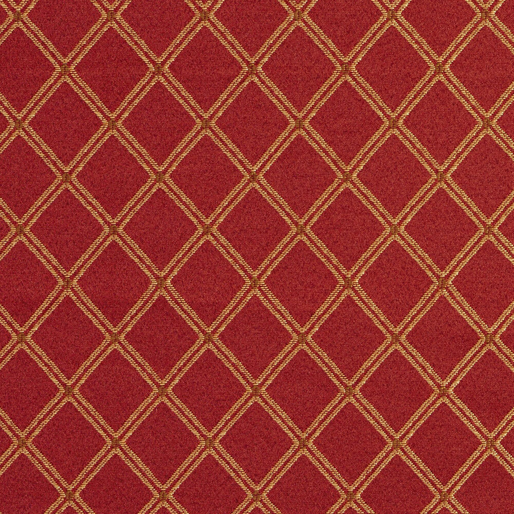 E611 diamond red gold green damask upholstery drapery for Upholstery fabric
