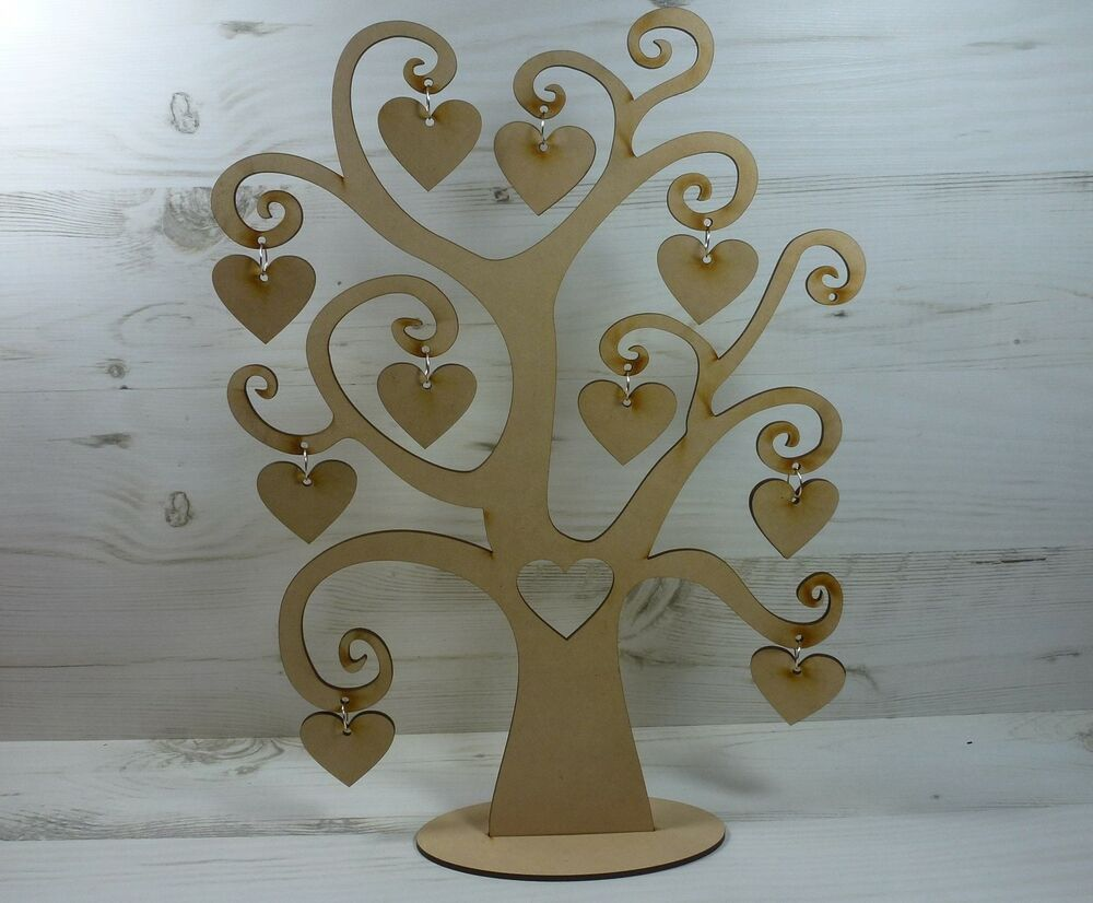Tree family names swirl word 11 hearts plaque craft wood for Wooden heart wall decor