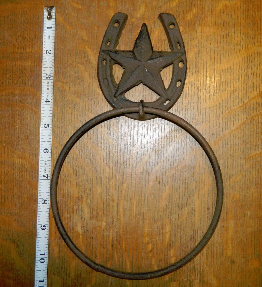 Rustic western decor horseshoe star wall mounted towel for How to decorate horseshoes
