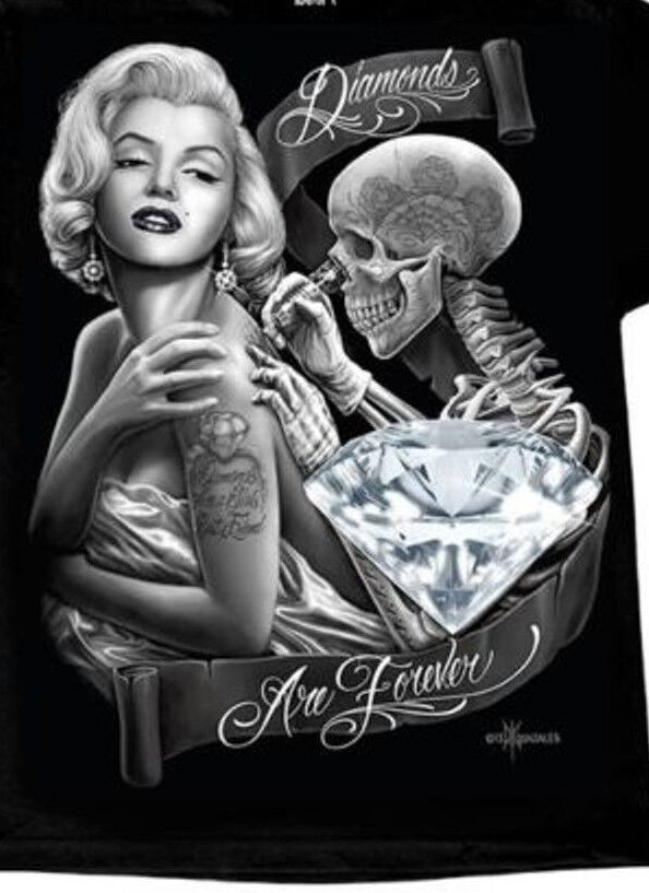 Dga david gonzales marilyn monroe diamonds forever tank for Marilyn monroe skull tattoos
