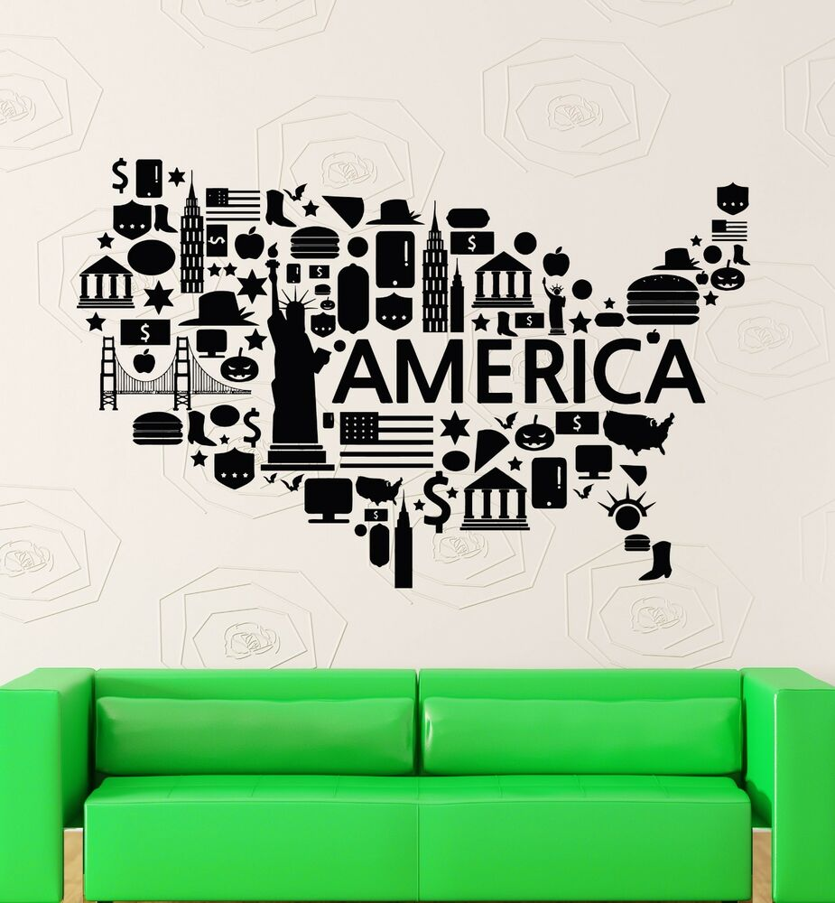 Wall Stickers Vinyl Decal Usa Map Famous Places America
