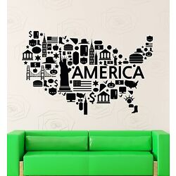 Wall Stickers Vinyl Decal USA Map Famous Places America Coolest Decor (z2204)