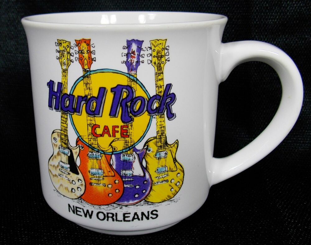 hard rock cafe new orleans electric guitars coffee mug cup white ebay. Black Bedroom Furniture Sets. Home Design Ideas