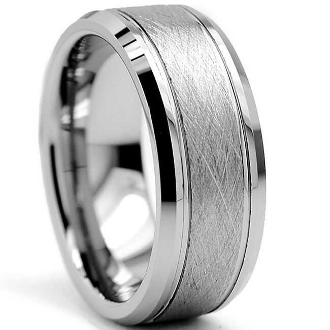 Tungsten Carbide Mens 8MM Rutile Brushed Center Silver