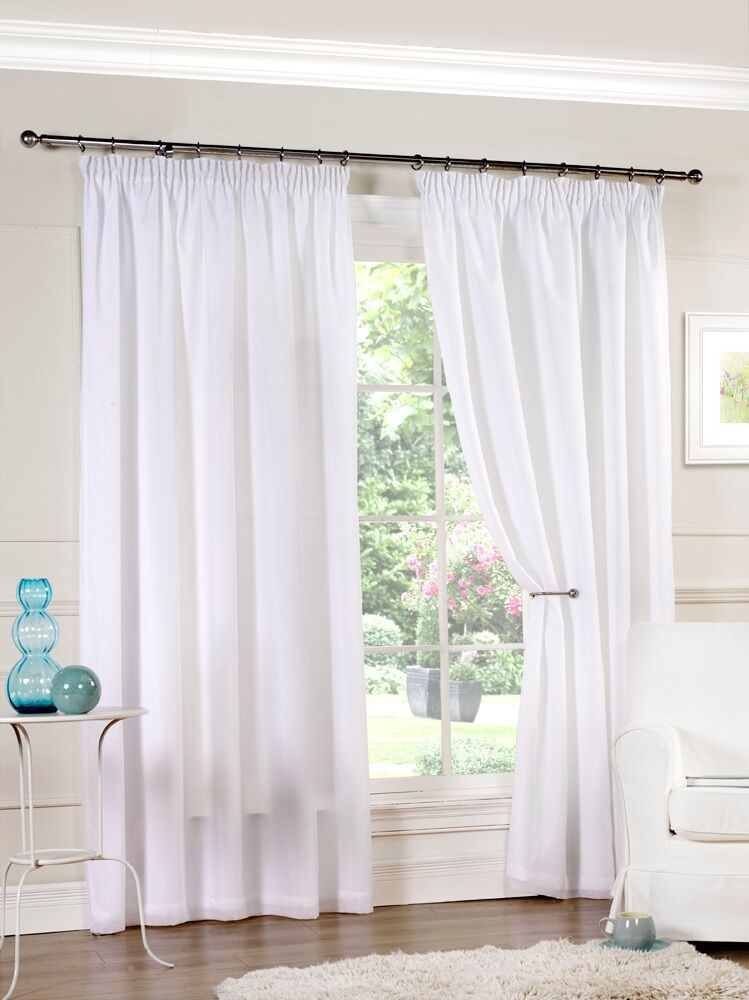 White luxury lined pencil pleat voile curtains 8 sizes for Window voiles