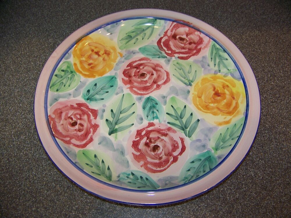 Roses Flower Flowers 10 5 Quot Dinner Plate Pink Hand Painted