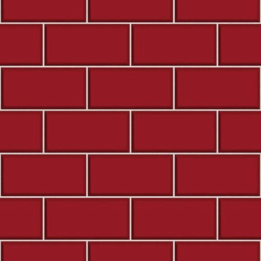 Fine Decor Fd40138 Luxury Red Cermica Subway Brick Tile