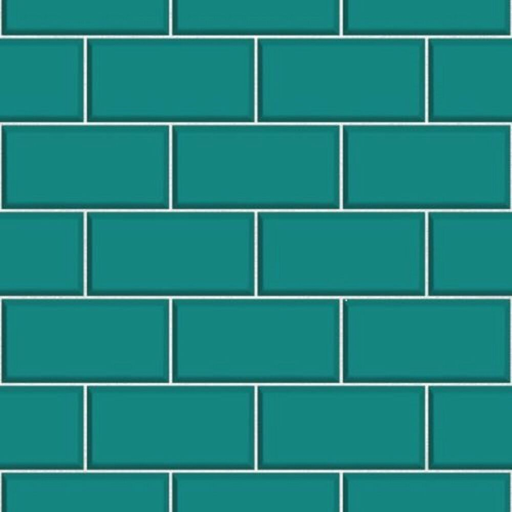 Fine decor fd40139 luxury teal cermica subway brick tile for Tile effect bathroom wallpaper