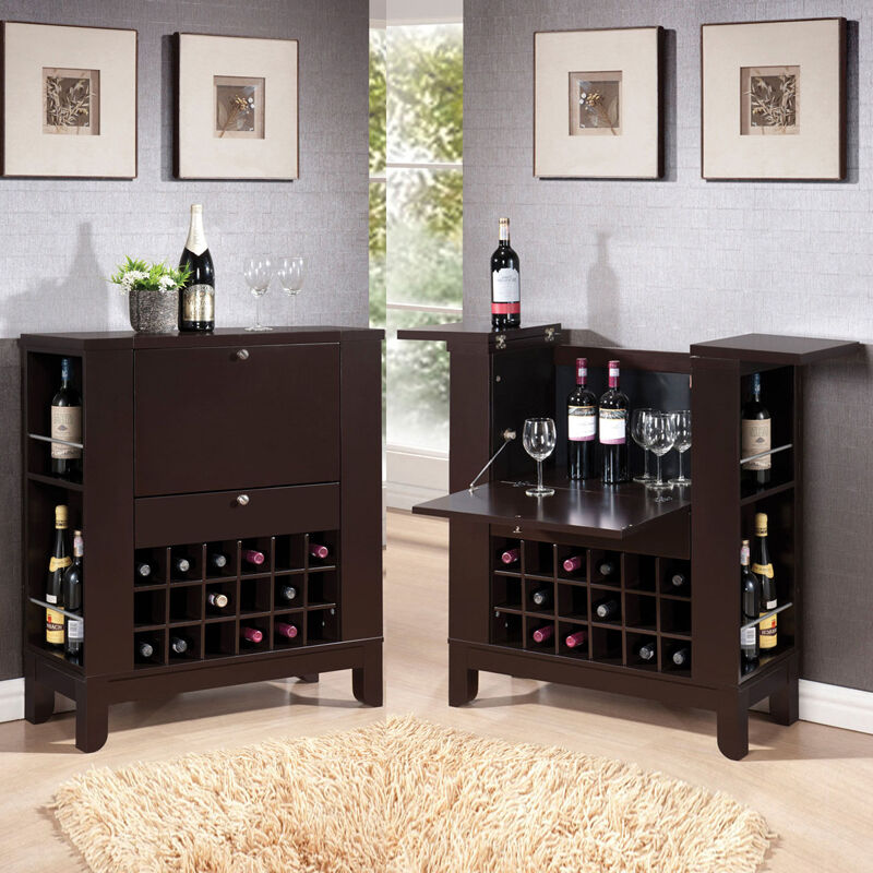 Dark brown fold down front shelves wine rack wooden bar for Wooden bar unit