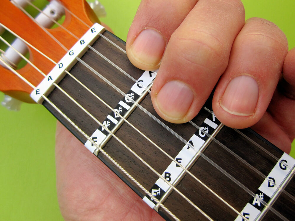 guitar note stickers 3 4 1 2 size classical child learn nylon fretboard label ebay. Black Bedroom Furniture Sets. Home Design Ideas