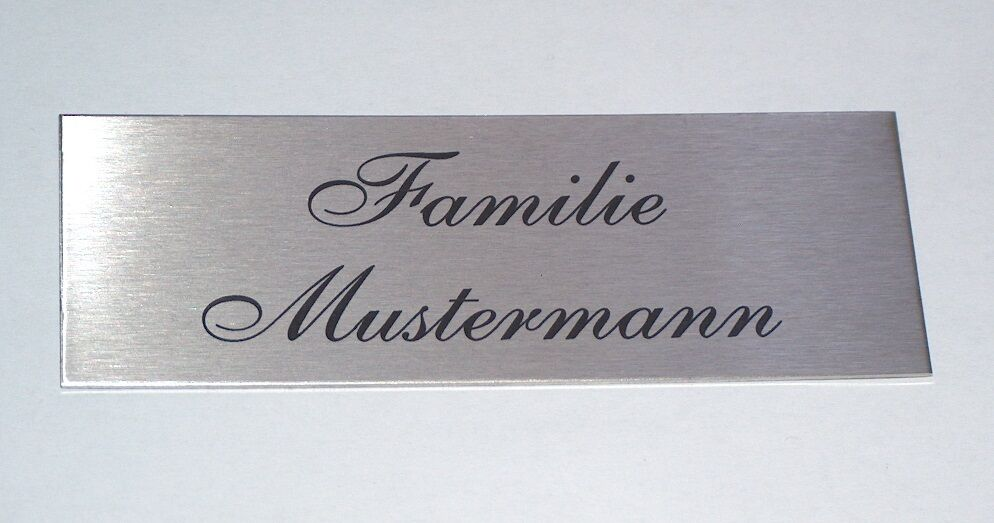 110x42mm edelstahlschild mit lasergravur edelstahl t rschild gravur namensschild ebay. Black Bedroom Furniture Sets. Home Design Ideas