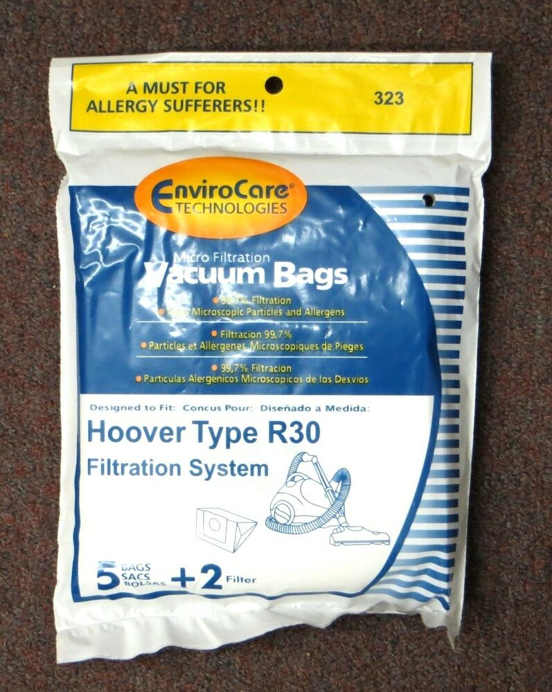 5 Hoover Type R30 Vacuum Bags 2 Filters For 40101002