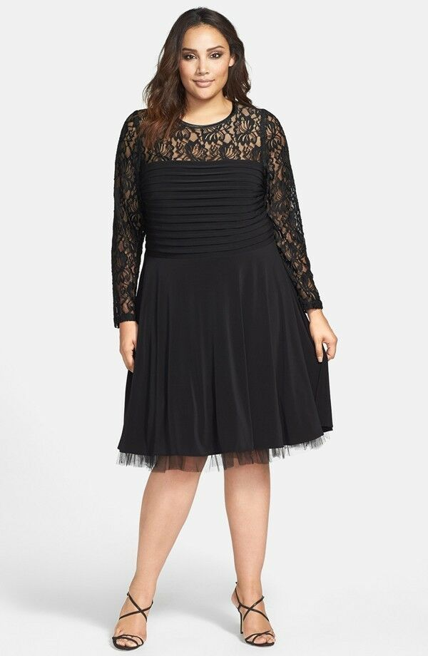 Betsy Amp Adam Lace Overlay Fit Amp Flare Banded Dress Black