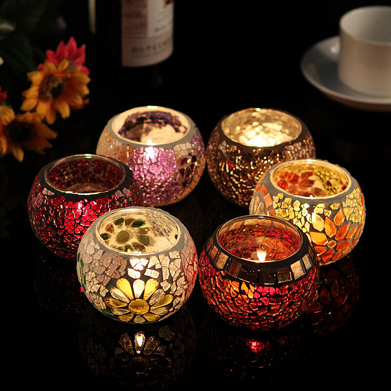 Chinese Mosaic Glass Candle Holders Tealight Votive Holder