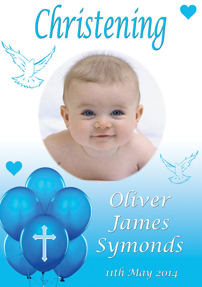 Large Christening Baptism Poster Banner Personalised Any