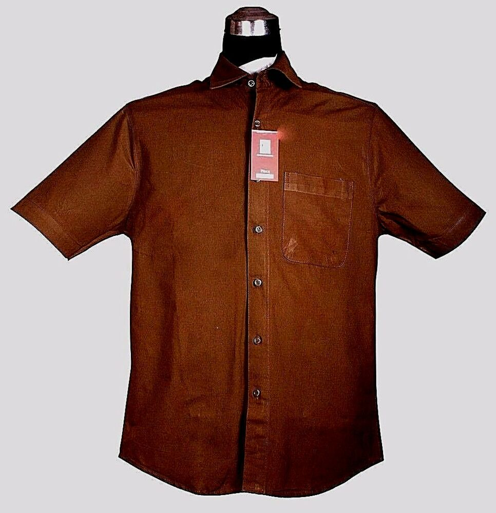 Men dress shirt short sleeve dark chocolate brown cotton for Size 15 dress shirt