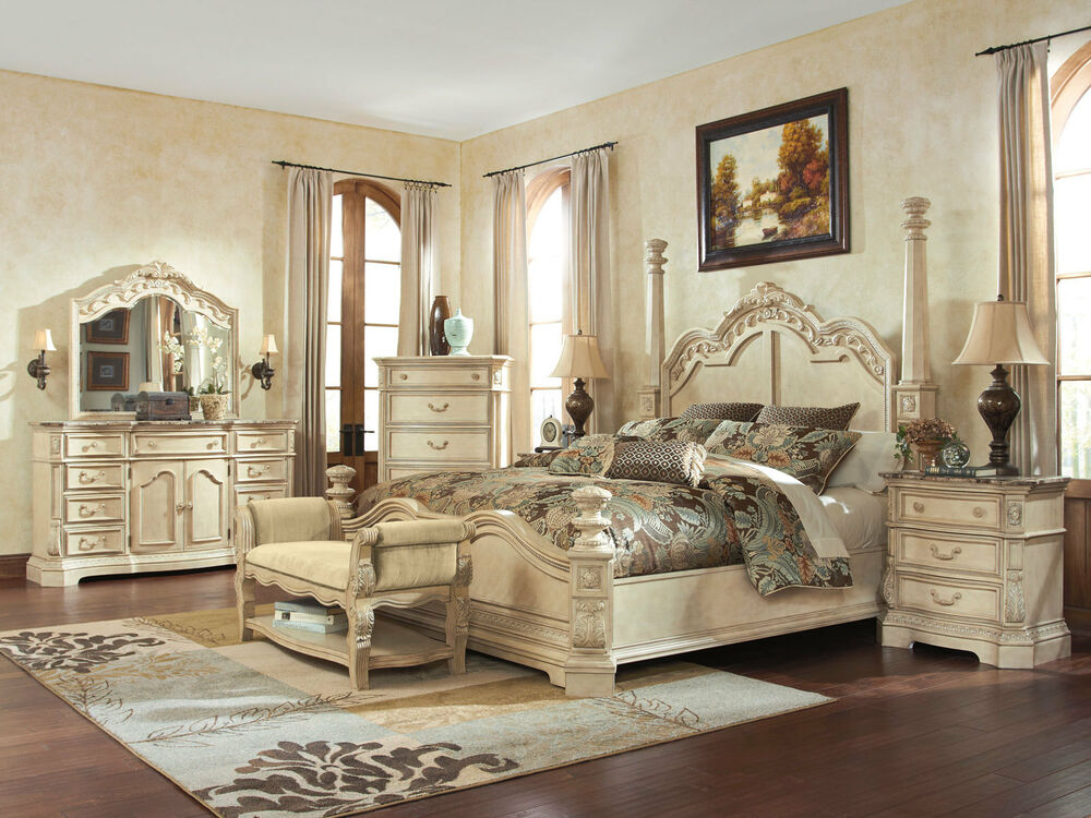 antique white bedroom furniture caroline 5pcs traditional antique white king poster 14020