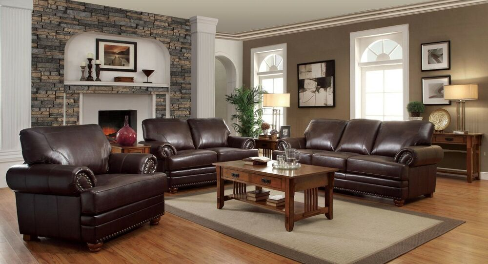 leather living room furniture brown leather | TRADITIONAL STYLISH BROWN BONDED LEATHER SOFA L/S & CHAIR ...